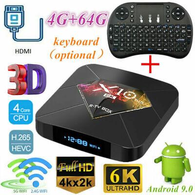 X10 Plus 4K HD Android 9.0 Smart TV Box 4+64GB H6 Quad-Core 3D Wifi +i8 Keyboard