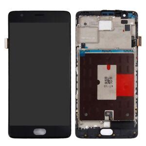 para-OnePlus-3-THREE-A3000-a3003-pantalla-lcd-completo-Unidad-marco-negro