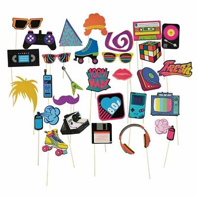 30 Pack - 80s Party Theme Birthday Party Photo Booth Props Selfie Decoration