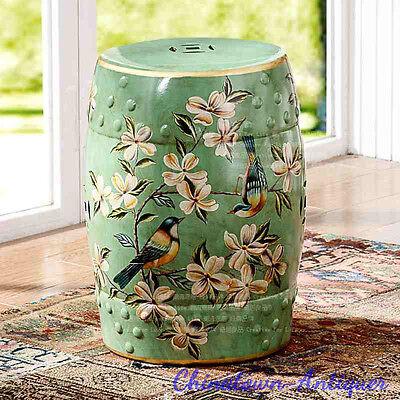 Porcelain Guzheng Guqin Seat Garden stool Drum Round stool Floral Decor (Chinese Ceramic Porcelain Garden Stool)