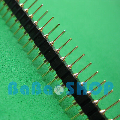 5pcs 40 Pin 2.54 Mm Single Row Round Male Gold Plated Pin Header Pcb New