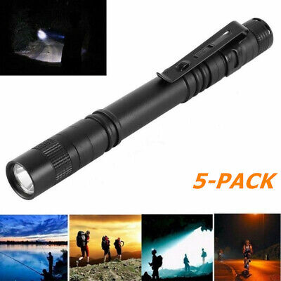 5PCS Mini Flashlight 120 LM Ultra Bright LED Pen light Clip Tactical Torch Lamp