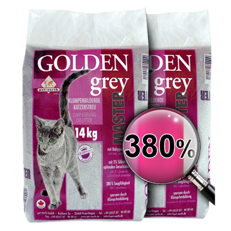 2 x 14 kg Golden Grey Master Katzenstreu Klumpstreu Babypuderduft Streu Silikat