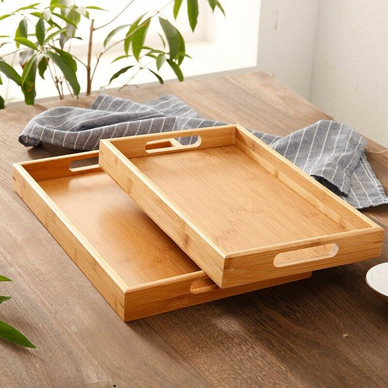 Brilliant Details About 1Pc Wooden Serving Tray With Handles For Breakfast Decor Ottoman Large Wood Chic Dailytribune Chair Design For Home Dailytribuneorg