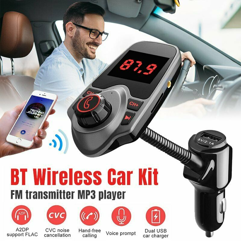 VicTsing Wireless Bluetooth FM Transmitter Radio MP3 Player Adapter USB Charger