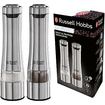 Russell Hobbs Battery Powered Salt and Pepper Grinders - Stainless Steel Silver