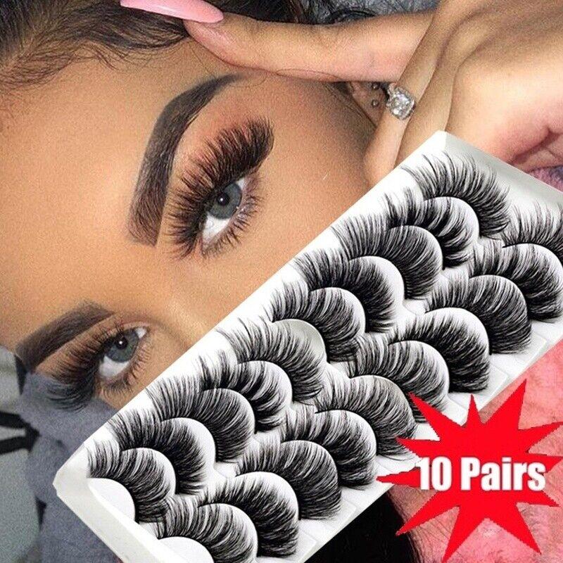 10Pairs 3D Mink False Eyelashes Wispy Cross Fluffy Natural E