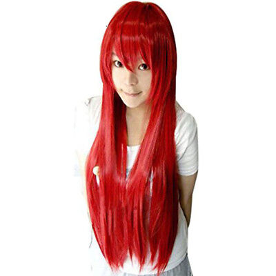 Red Sally Wig (80cm Foxfire Ahri Homestuck Erza Scarlet Sally Long Straight Synthetic)