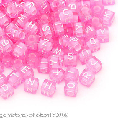Wholesale W09 Acrylic Spacer Beads Alphabet Letters Carved Cube Pink 6mmx6mm