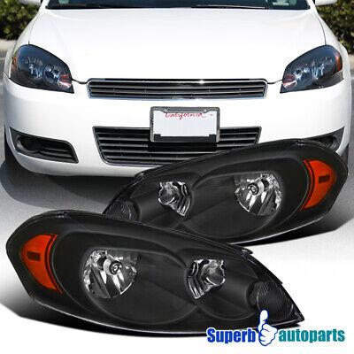 For 2006-2013 Chevy Impala 2006-2007 Monte Carlo Black Headlight Lamps