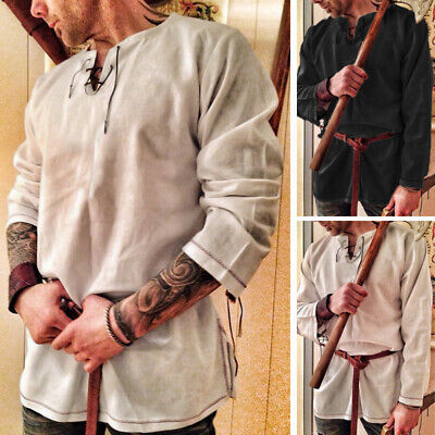 Fashion Men's Pirate Shirt Renaissance Medieval Long Sleeve Lace Up Party Tops