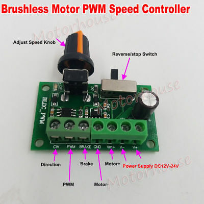 Dc 12v-24v Inner Driver Brushless Motor Pwm Speed Controller Brake Cw Ccw Switch