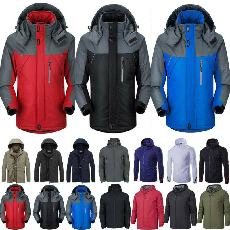 Men's Snow Ski Jacket Trench Coat Waterproof Windbreaker Fle