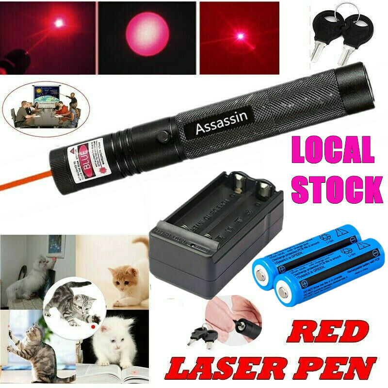 900Miles 1mw Red Laser Pointer Pen Rechargeable 650nm Visiable Beam+2xBattery