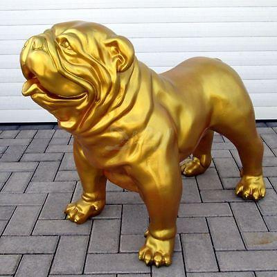 englische BULLDOGGE 93 cm GOLD Garten Deko Figur HUND Tier Skulptur Hunde golden