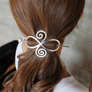 Big Silver Hair Pin Barrette Clasp Head Clip Korean Style Grip VTG Prom Wedding