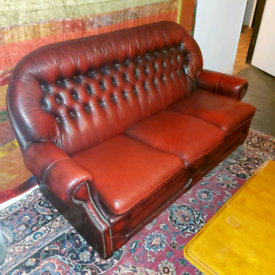 Chesterfield sofa, Oxblood Red, Leather, 3 Seater.