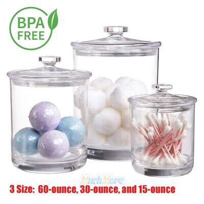 Large Medium Small Clear Plastic Acrylic Bathroom Apothecary Jars Set With Lids