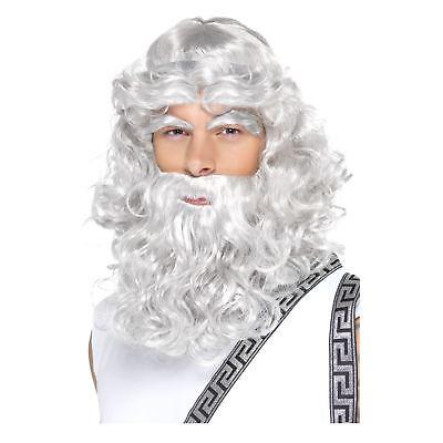 da uomo adulto Dio greco ZEUS Parrucca, BARBA & sopracciglia Costume CERVO