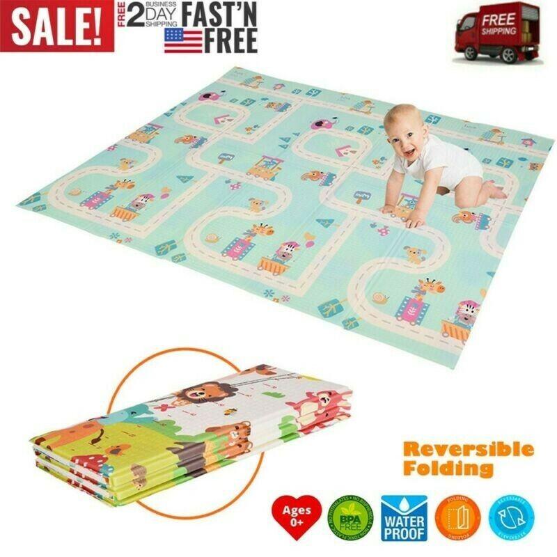 Foldable Play Mat Large Folding Reversible Baby Soft Crawlin