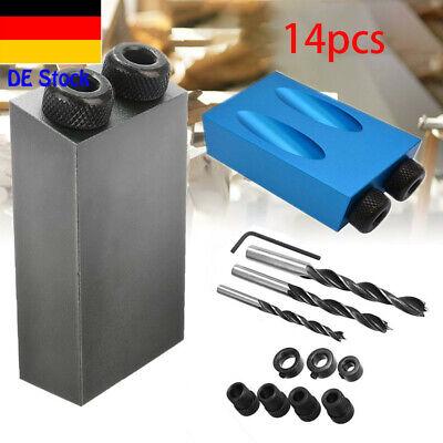 10 Vorrichtung (14X Bohrschablone Bohrlehre 15° 6/8/10mm Taschenloch Bohrvorrichtung Bohrhilfe)