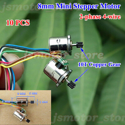 10pcs 2-phase 4-wire Miniature 8mm Micro Stepping Stepper Motor 10t Copper Gear