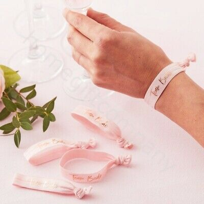 5x Pink Team Bride Wristbands Bracelet Hen Party Wrist Bands Accessories Favours](Team Bride Wristbands)