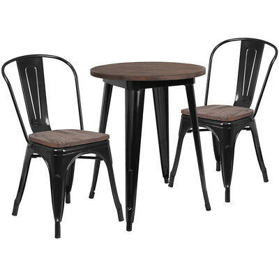 24 Round Black Metal Restaurant Table Set With Walnut Wood Top And 2 Chairs