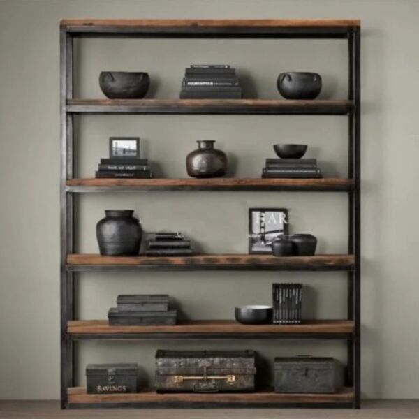 E 101,PO - Retro/Loft/Industrial Solid Wood Display rack, Multi-levels Display Shelves,