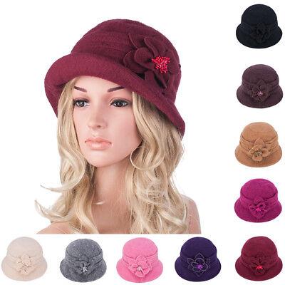 Womens GATSBY 1920s Roll Brim Winter Flower Wool Beret Beanie Bucket Hat A299