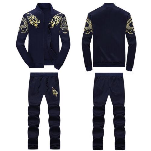2PCS Men Sports Sweat Suit Tracksuit Jacket Coat Pants Size M-4XL Fashion