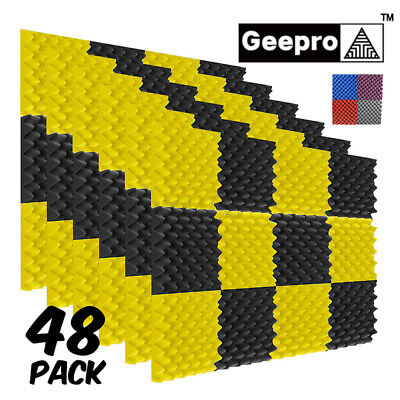 48 Pack Acoustic Record Studio Soundproofing Foam Panel Wall Tiles 12x12x1