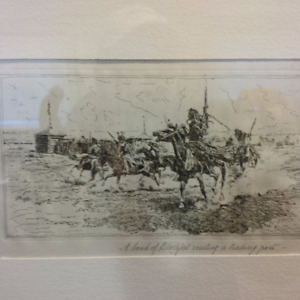Charles Marion Russell Etching 'Band of Blackfeet'