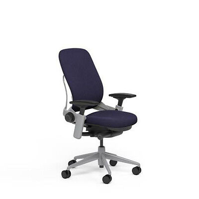 Steelcase Adjustable Leap Desk Chair Buzz2 Crocus Fabric Seat - Platinum Frame