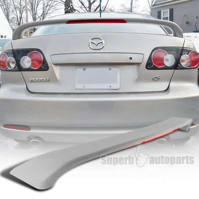 2003-2008 Mazda 6 4DR ABS Rear Trunk Spoiler Wing+LED 3rd Light Unpainted