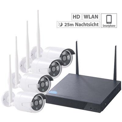 VisorTech Funk-Überwachungssystem, HDD-Rekorder & 4 IP-Kameras, Plug & Play, App