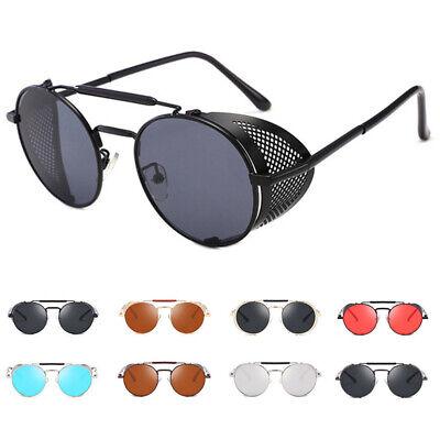 Vintage Retro Steampunk Sunglasses Side Shield Goggles Metal Cyber Round (Cyber Glasses)