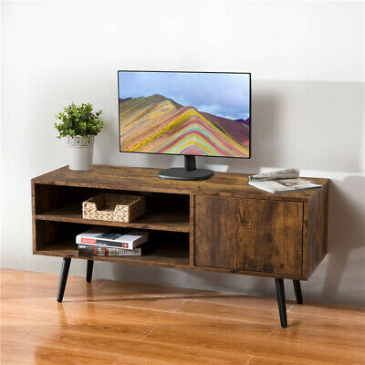 Living Room Rustic Wood TV Stand Console Table W/ 2 Tier Storage Shelf -