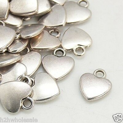 50 Small Silver Love Heart Charms Pendants,Jewellery Making Job Lot Wholesale UK