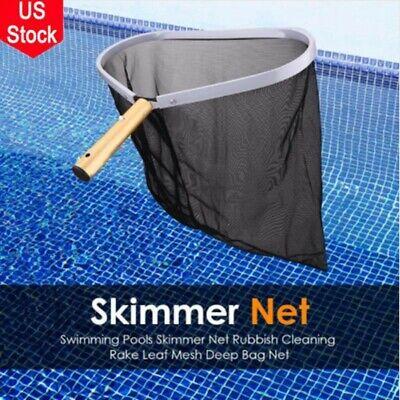 Heavy Duty Swimming Pool Leaf Rake Skimmer w/HD Mesh Net & Strong Aluminum Frame Heavy Duty Leaf Skimmer