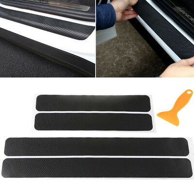 4PC Universal Car Door Scuff Sill Plates Step Protector Cover Carbon Sticker - Neon Door