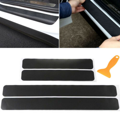 Car Parts - 4PC Universal Car Door Scuff Sill Plates Step Protector Cover Carbon Sticker USA