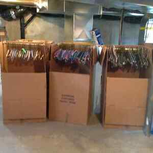 Moving boxes and hangers