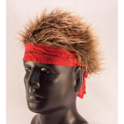 Billy Bob Halloween Costume (Billy Bob Red Barbed Wire Bandana with Brown Hair - Biker Hair)