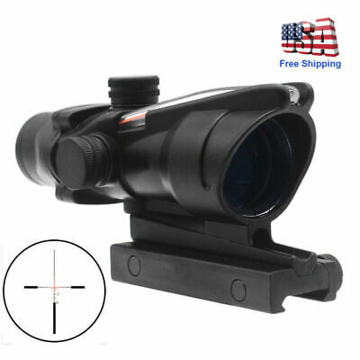 4X32 Real Red illuminated Fiber Chevron Reticle ACOG Rifle Scope Sight 20mm Rail