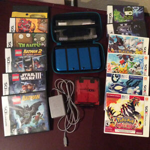 DS XL BLUE W/ charger/carrying case/games case/12 Games