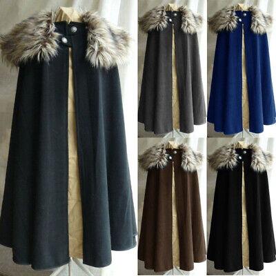 Pirate Coat Costume (Medieval Renaissance Men Pirate Coat Cloak Viking Fur collar Cape Retro)