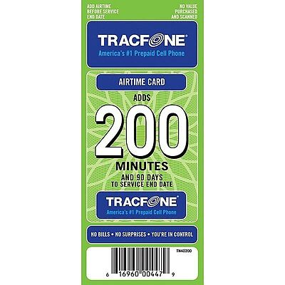 200 Minute TRACFONE Airtime Card PIN refill cell phone
