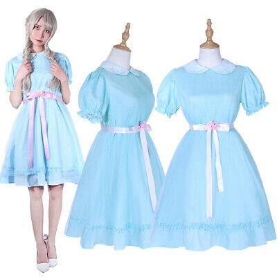 The Shining Grady Twin Daughter Cosplay Costume Women Girl Blue Dress Halloween