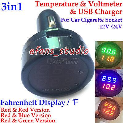 3in1 12v 24v Digital Led Voltmeter Thermometer Fahrenheit Car Cigarette Lighter